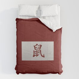 Chinese zodiac sign Rat red Comforters