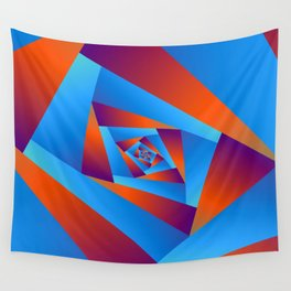 Orange and Blue Spiral Wall Tapestry