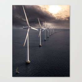 Windmill farm at sea Canvas Print