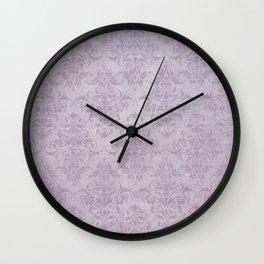 Vintage chic violet lilac floral damask pattern Wall Clock