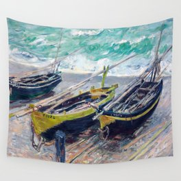 Three Fishing Boats by Claude Monet Wall Tapestry