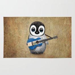 Baby Penguin Playing Salvadorian Flag Acoustic Guitar Rug