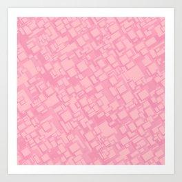 Vintage pink rectangle pattern Art Print