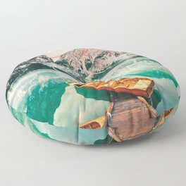 Boats on the lake Floor Pillow