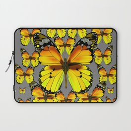 CLUSTER YELLOW-BROWN  BUTTERFLIES GREY  DESIGN Laptop Sleeve