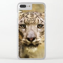 Hope For Tomorrow - Snow Leopard Art Clear iPhone Case