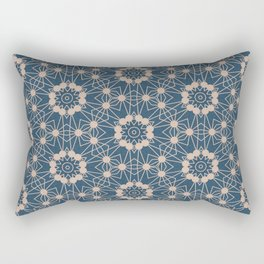 Blue Digital Flower Pattern Rectangular Pillow