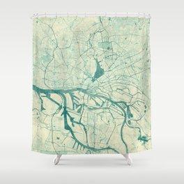 Hamburg Map Blue Vintage Shower Curtain