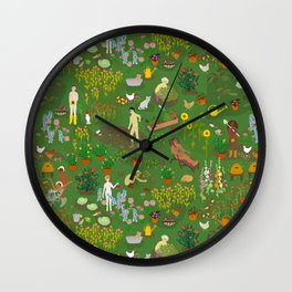 Naked Gardening Day Wall Clock