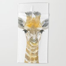 Baby Giraffe Watercolor Beach Towel
