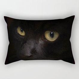 Black cat with yellow eyes Rectangular Pillow