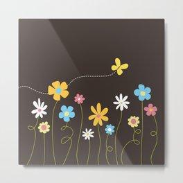 Funky Spring Flowers & Butterfly Metal Print