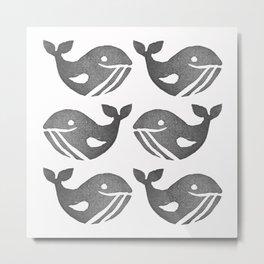 Cute Happy Whales   Block Printing Design Metal Print