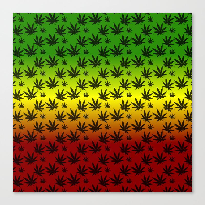 d2608a9c5369 Rasta Cannabis Weed Leaf Pattern Canvas Print