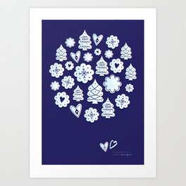 Blue christmas decoration Art Print