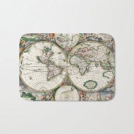 Vintage World Map, 1689 Bath Mat