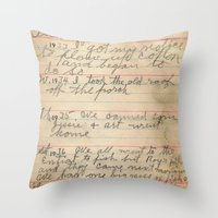 my mad fat diary Throw Pillows featuring My Great Grandpa's Diary by Melinda Harris Photography