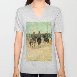 """Paul Gauguin """"Cavaliers Sur La Plage (II)"""" Unisex V-Neck"""