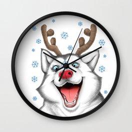 Husky Rudolph Wall Clock