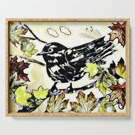 A Bird For Autumn Serving Tray