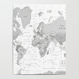 World Map [Black and White] Poster