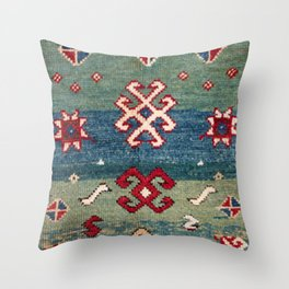 Chevron Stars II // 19th Century Colorful Steel Blue Light Green Teal Checkered Ornate Accent Patter Throw Pillow