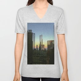 Chicago Buildings at Sunset Color Photo Unisex V-Neck