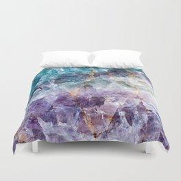 Turquoise & Purple Quartz Crystal Duvet Cover