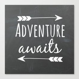 Adventure Awaits Chalkboard Canvas Print