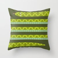 anaconda Throw Pillows featuring Anaconda! by Helicon Hill