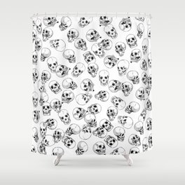 A Lot of Skulls White Shower Curtain