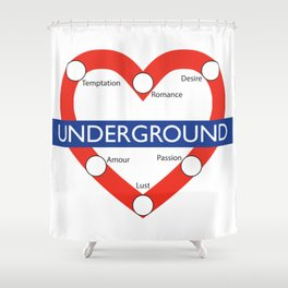 Love Underground Shower Curtain