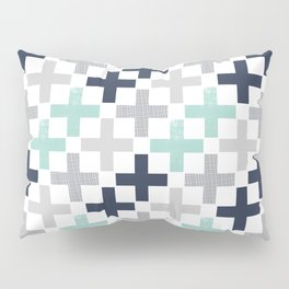 Swiss cross pattern minimal nursery basic grey and white camping cabin chalet decor Pillow Sham