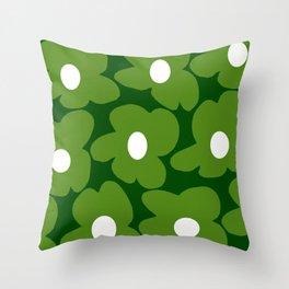 Spring Green Retro Flowers Dark Green Background #decor #society6 #buyart Throw Pillow