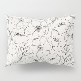 Floral Simplicity - Neutral Black Pillow Sham
