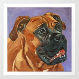 Finnly the Bull Mastiff Dog Portrait Art Print