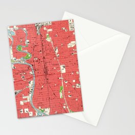 Vintage Map of Wichita Kansas (1961) Stationery Cards
