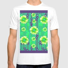Contemporary Yellow & Green Purple Floral Art White MEDIUM Mens Fitted Tee
