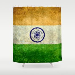 Flag of India - Retro Style Vintage version Shower Curtain