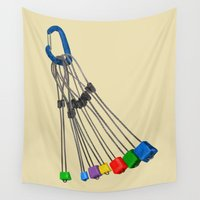 climbing Wall Tapestries featuring Rock Climbing Wires by mailboxdisco