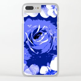 Roses Blue and White Toil #1 Clear iPhone Case