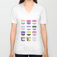 transformers V-neck T-shirts featuring Transformers Pride by squ1dp0ny