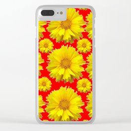 "YELLOW COREOPSIS ""TICK SEED"" FLOWERS RED PATTERN Clear iPhone Case"
