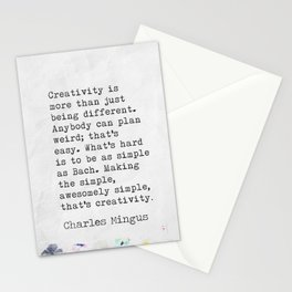 Charles Mingus quote. Creativity is more than just being different. Stationery Cards