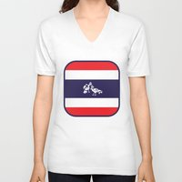 thailand V-neck T-shirts featuring Thailand Flag, Roosters Sparring by mailboxdisco