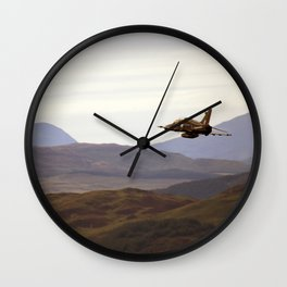 Hawk flying above mountains Wall Clock