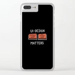 UI Design matters – Missile alert – Test Missile alert    [black & white] Clear iPhone Case