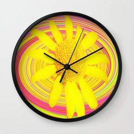 Yellow Sunflower on a Fuchsia Psychedelic Swirl Wall Clock