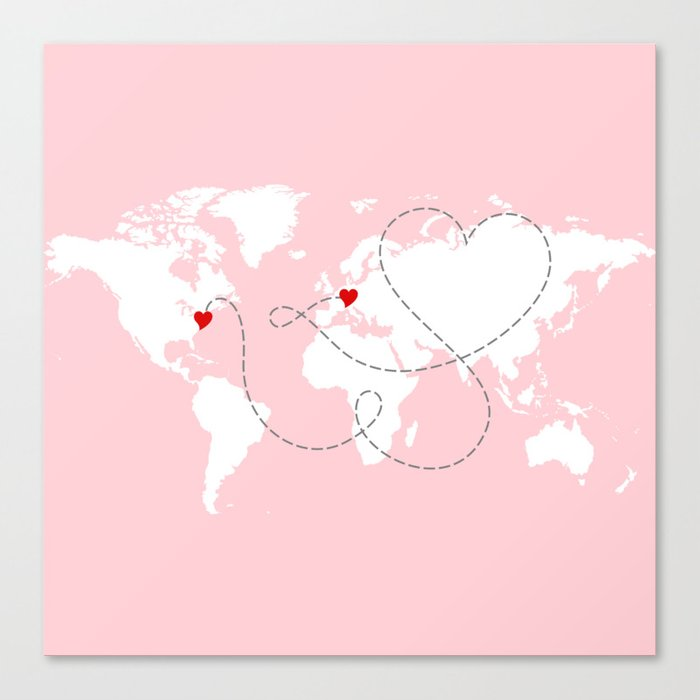 World map in pink usa to europe new york to germany canvas print world map in pink usa to europe new york to germany canvas print gumiabroncs Images
