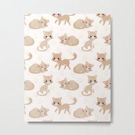 Ragdoll Cats Pattern – Cream Paw Print Background Metal Print